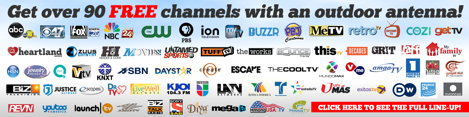 Get Over 80 FREE Channels With an Outdoor Antenna!